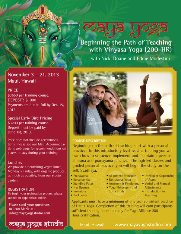 Maya Yoga Teacher Training Flyer